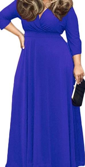 43a90c30682 Poseshe Women's Solid V-Neck 3/4 Sleeve Dress